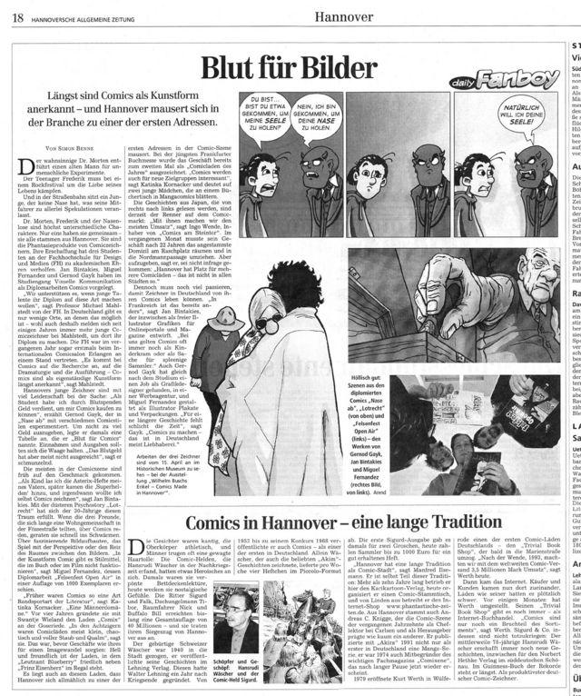 COMIX  Hannover - wir lieben diesen Bericht aus der HAZ, da er uns lobend erwähnt