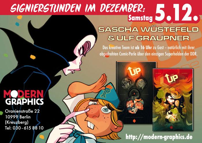 Signierstunde mit  Sascha Wüstefeld und Ulf Graupner am 5.12.15 bei Modern Graphics/Berlin