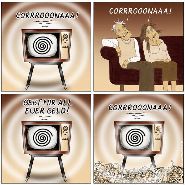 Cartoons von Yavou 2021 - Woche 02 - Corona-TV