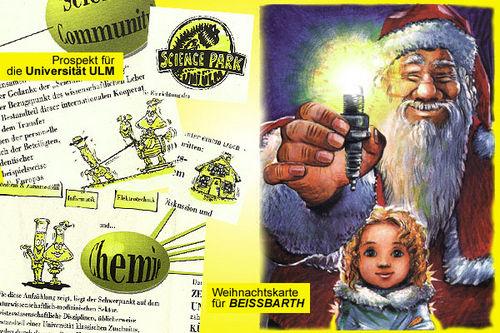 Weihnachtskarte und Prospekt